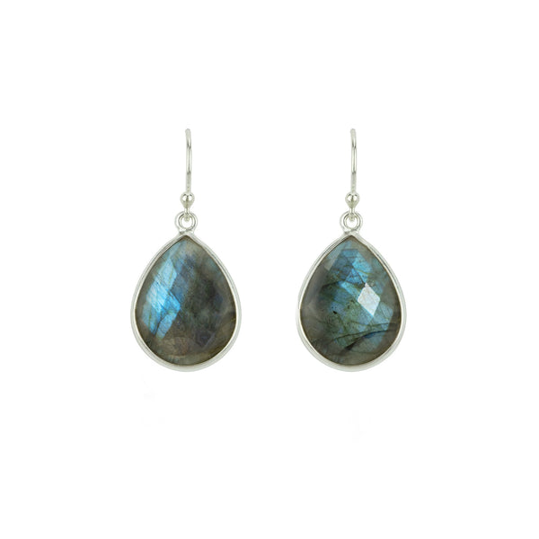 Cut Stone Earrings in Labradorite & Silver