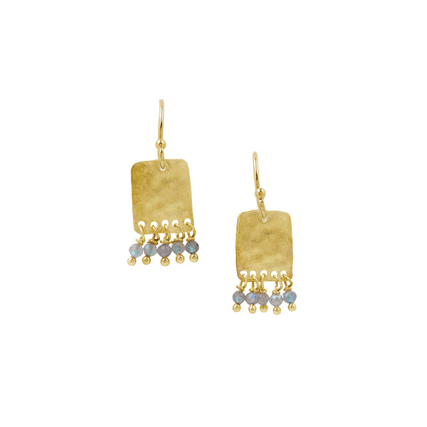 Dancing Labradorite Earrings in Gold