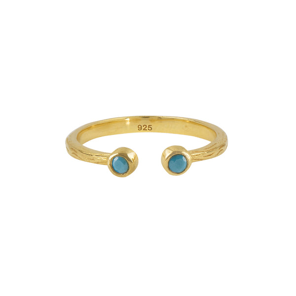 Souffle Stone Stacker Ring in Turquoise and Gold