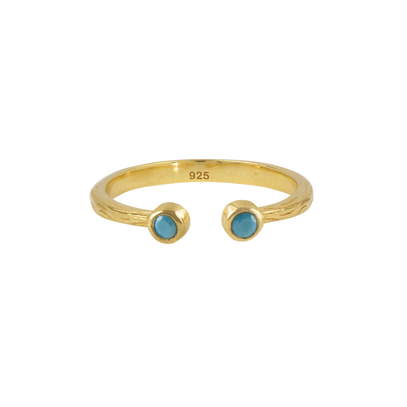 Soufflé Stone Stacker Ring in Turquoise and Gold