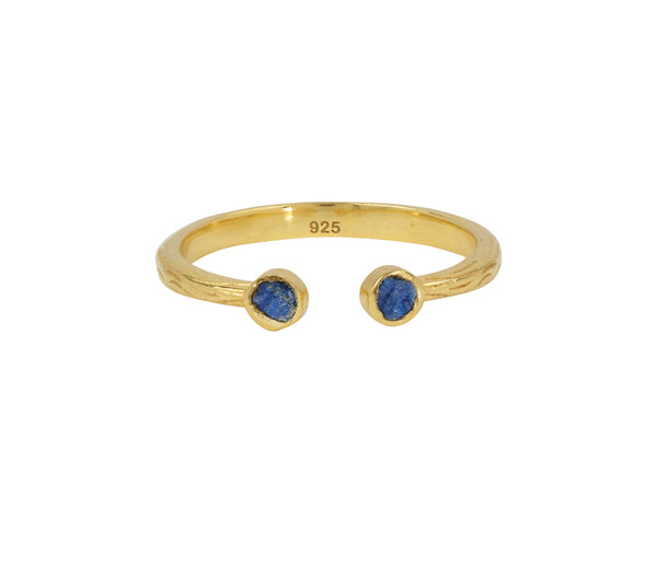 Soufflé Stone Stacker Ring in Lapis and Gold