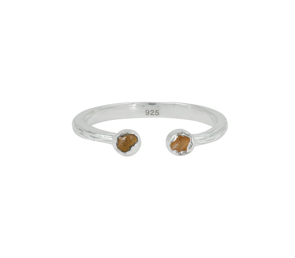 Soufflé Stone Stacker Ring in Hessonite and Silver