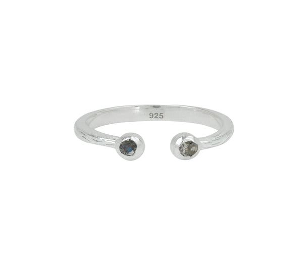 Soufflé Stone Stacker Ring in Labradorite and Silver