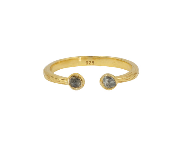 Soufflé Stone Stacker Ring in Labradorite and Gold | Available to Ship 6/11