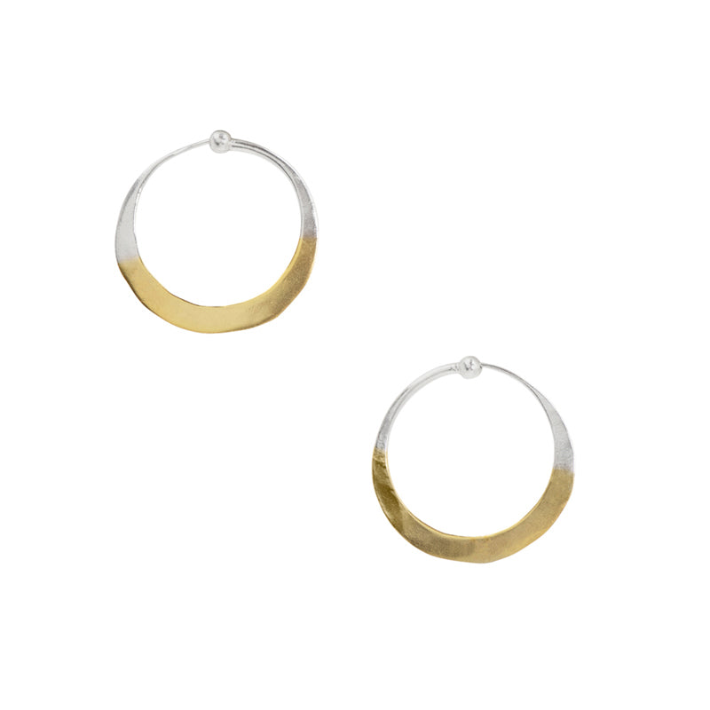 Gold Dipped Hammered Hoops - 1""