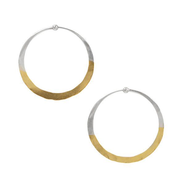 Gold Dipped Hammered Hoops - 1 1/2""