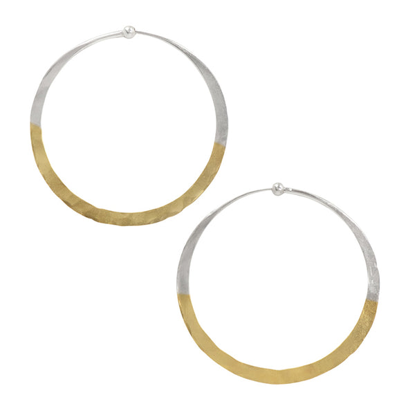 Gold Dipped Hammered Hoops - 2""