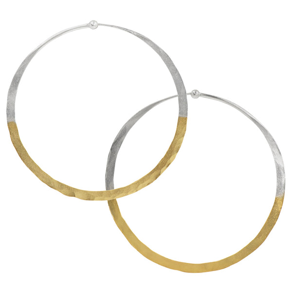 Gold Dipped Hammered Hoops - 2 1/2""