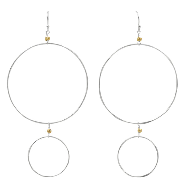 The Sun and Moon Hoops in Silver and Gold