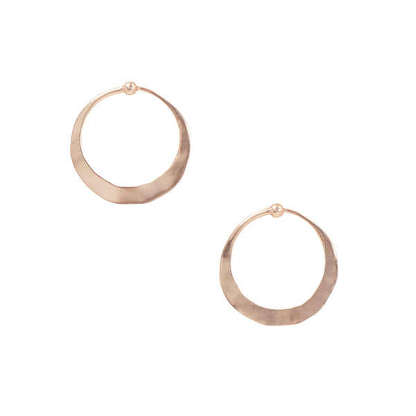 Hammered Hoops in Rose Gold - 1""