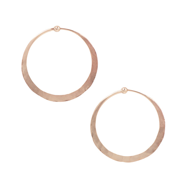 Hammered Hoops in Rose Gold - 1 1/2""