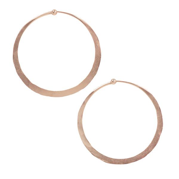 Hammered Hoops in Rose Gold - 2""