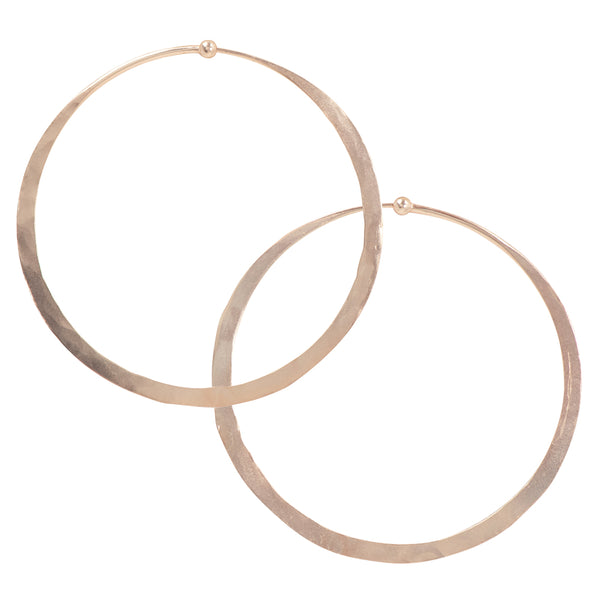 Hammered Hoops in Rose Gold - 2 1/2""