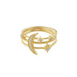 Star & Moon Trio Ring Stack Set in Gold