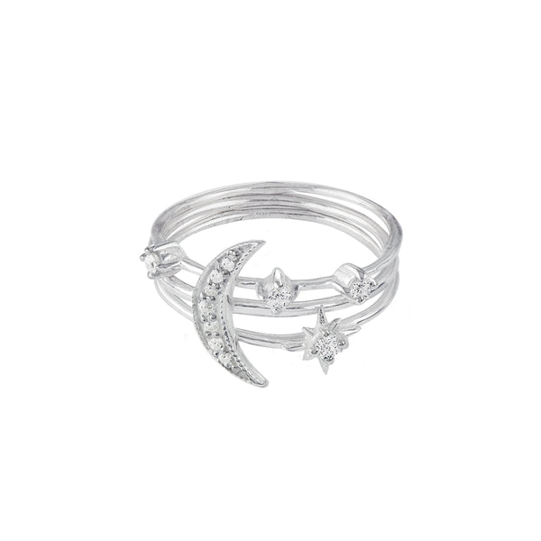 Star & Moon Trio Ring Stack Set in Silver
