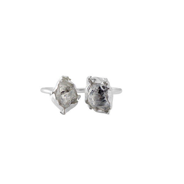 Herkimer Diamond Duo Ring in Silver