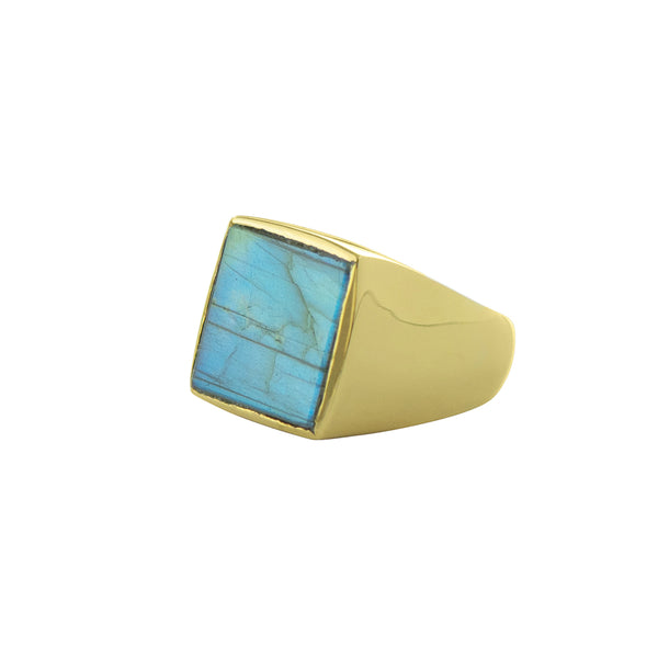Labradorite Window Ring in Gold