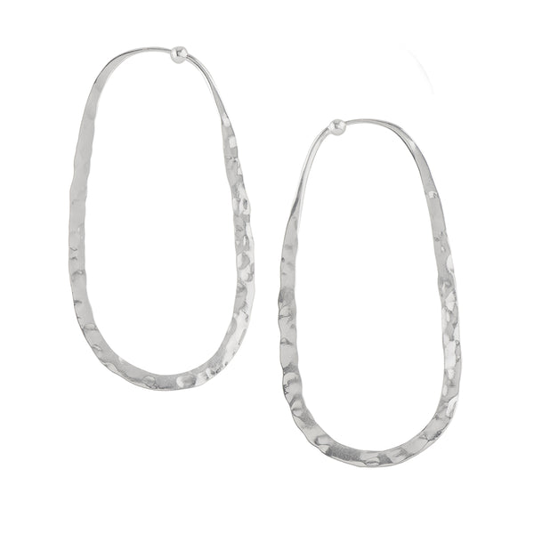 Hammered Oblong Hoops in Silver - 2 1/2""