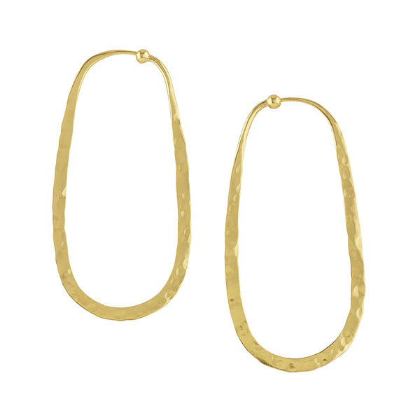 Hammered Oblong Hoops in Gold - 2 1/2""