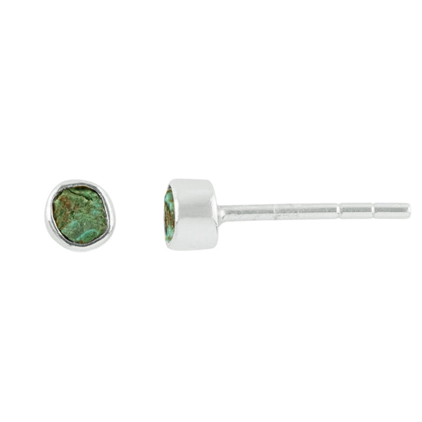 Souffle Stone Posts in 3.5mm Chrysocolla & Silver