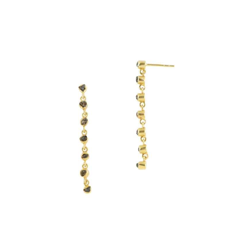 Souffle Duster Earrings in Raw Diamond and Gold