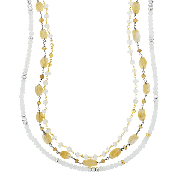 Layered Citrine and Moonstone Necklace