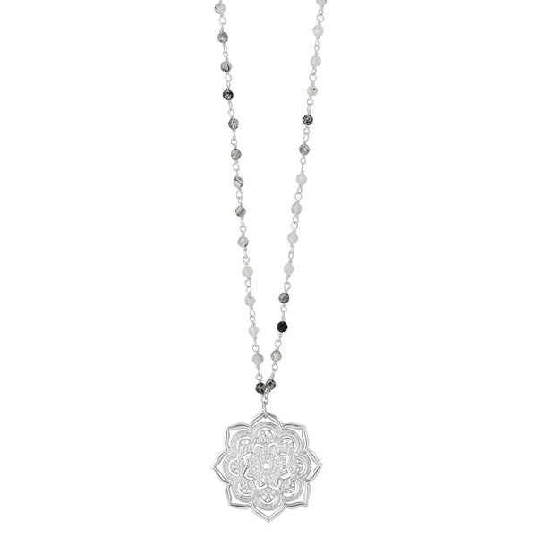 Open Heart Mandala Necklace with Stone Chain