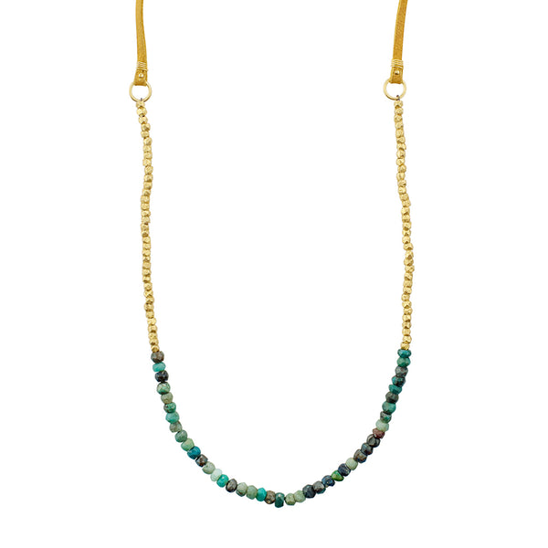 Tethered Stone Strand in Chrysocolla and Gold