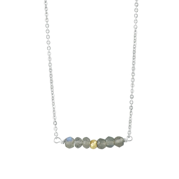 Stone Stack Necklace in Labradorite