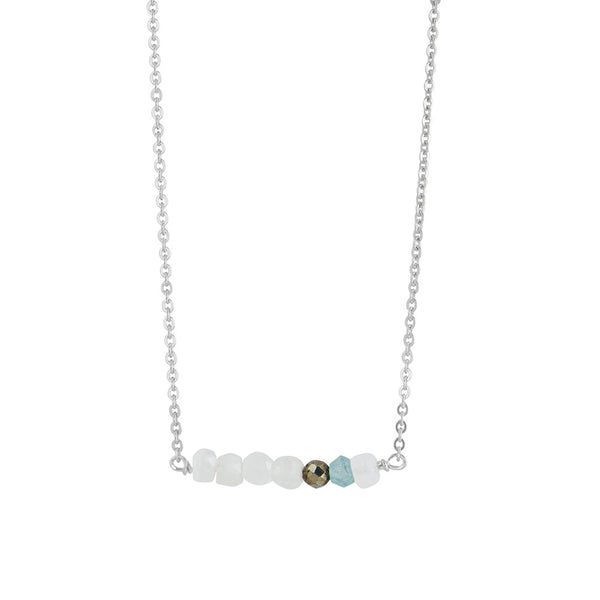 Stone Stack Necklace in Moonstone and Apatite