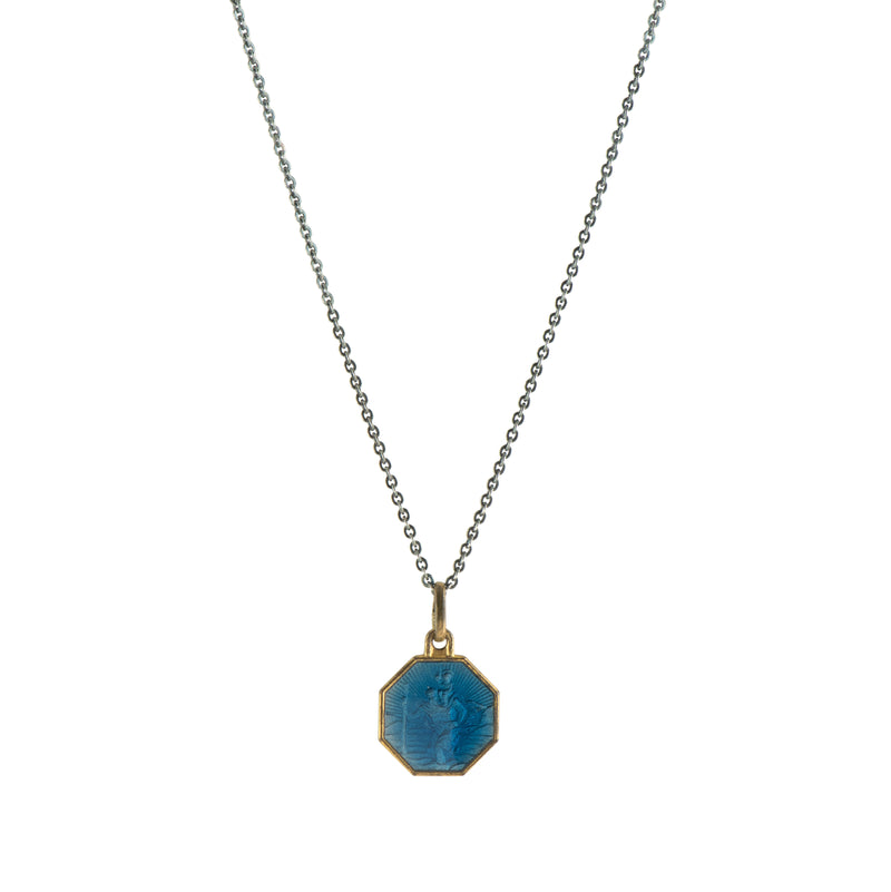 Blue Enamel Vintage Saint Necklace -  #29