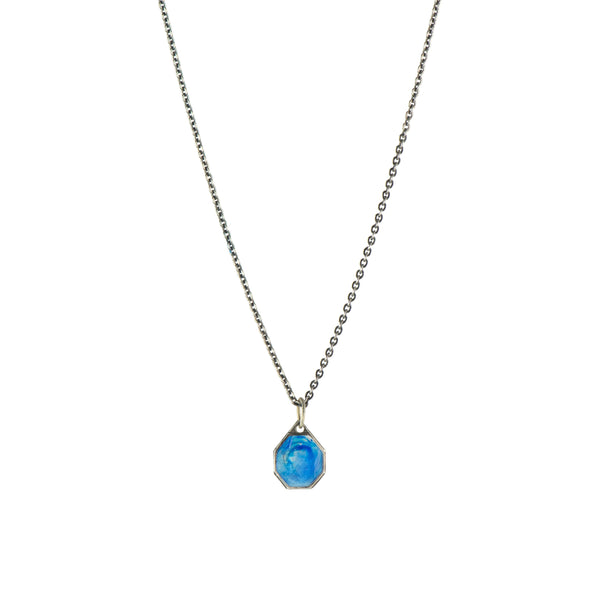 Blue Enamel Vintage Saint Necklace -  #30