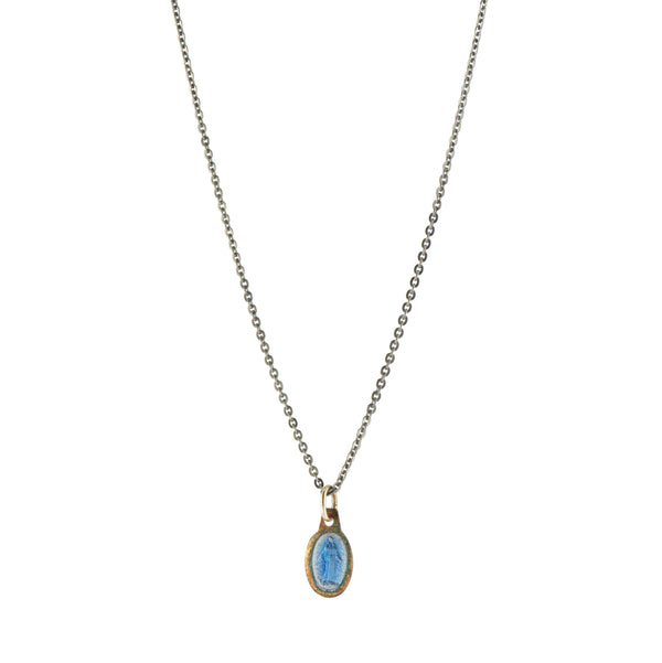 Blue Enamel Vintage Saint Necklace -  #32