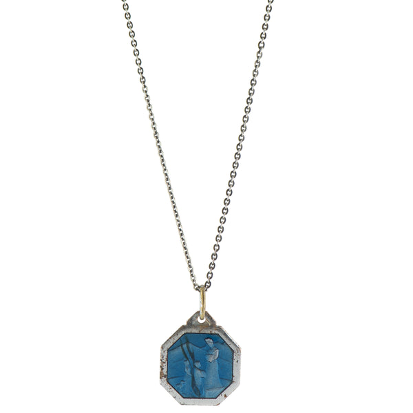Blue Enamel Vintage Saint Necklace -  #64