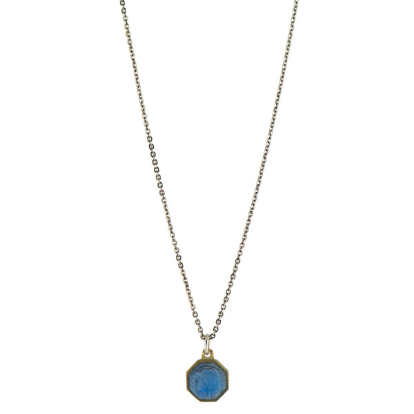 Blue Enamel Vintage Saint Necklace -  #74