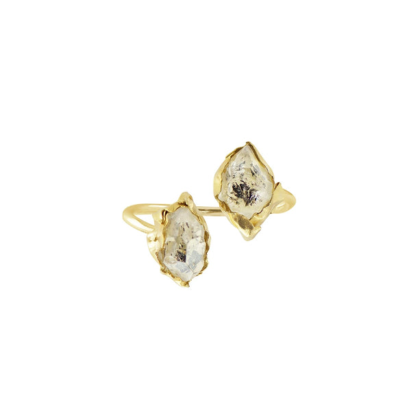Herkimer Diamond Duo Ring in Gold