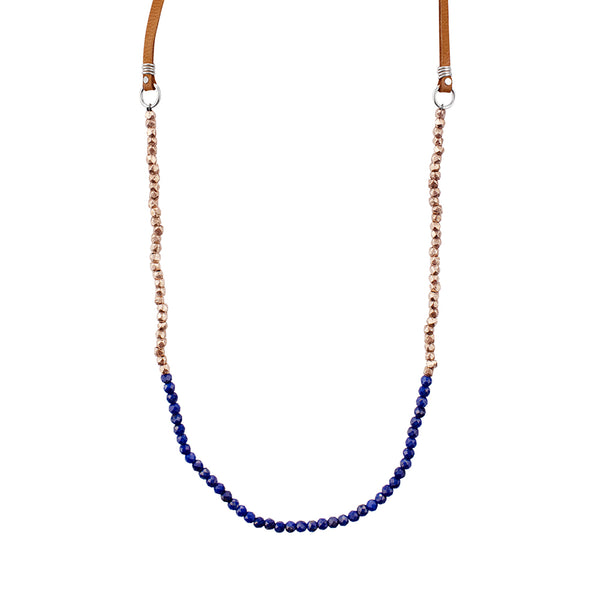 Tethered Stone Strand in Lapis and Rose Gold