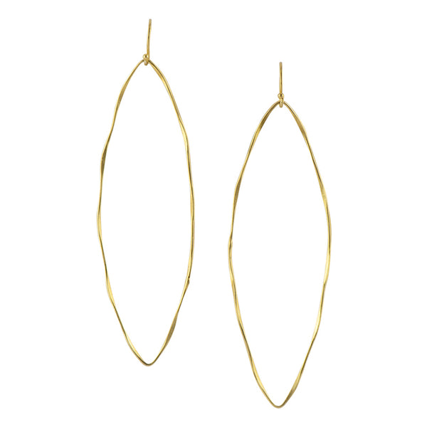 Hammered Marquise Hoops in Gold