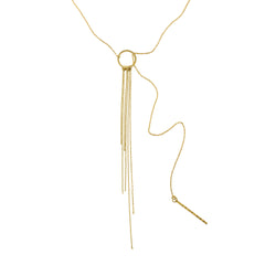 Chain Fringe Lariat Necklace in Gold