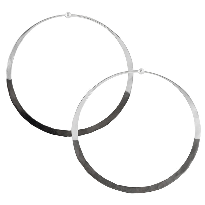 Rhodium Dipped Hammered Hoops in Silver - 2 1/2""