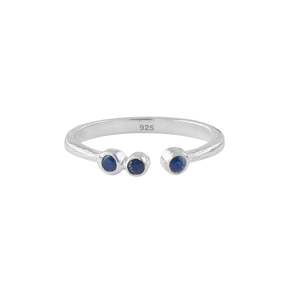 Soufflé Trio Stone Stacker Ring in Silver and Lapis | Available to Ship 6/11