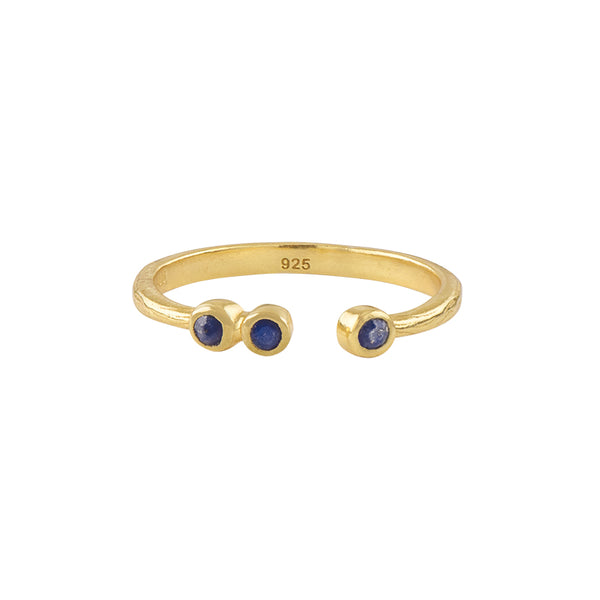 Soufflé Trio Stone Stacker Ring in Gold and Lapis
