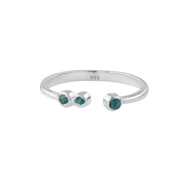 Soufflé Trio Stone Stacker Ring in Silver and Chrysocolla