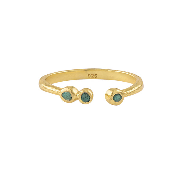 Soufflé Trio Stone Stacker Ring in Gold and Chrysocolla | Available to Ship 1/29