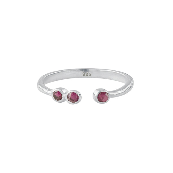 Soufflé Trio Stone Stacker Ring in Silver and Ruby