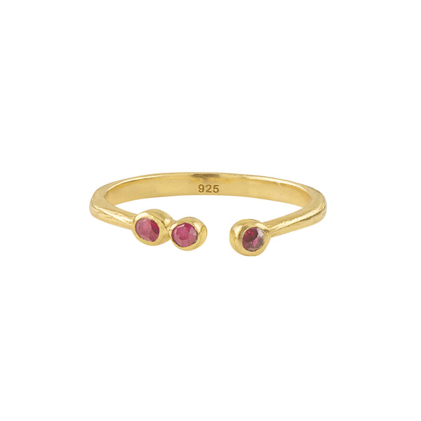 Soufflé Trio Stone Stacker Ring in Gold and Ruby | Available to Ship 1/29
