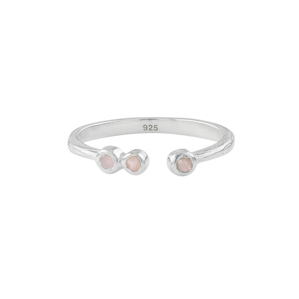 Soufflé Trio Stone Stacker Ring in Silver and Pink Opal