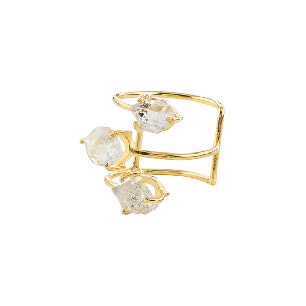 Herkimer Trio Cage Ring in Gold
