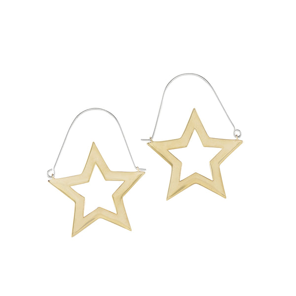 Bronze Star Hoops