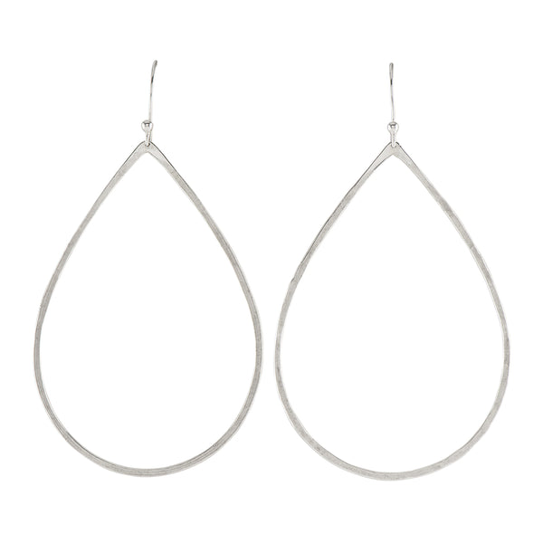 Hammered Drop Hoops in Silver